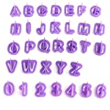 40 Stück Alphabet Buchstaben Zahlen Fondant Kuchen Keks Backform Keks Ausstechformen (lila) violett