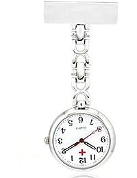 Enfermeras De La Aleacion De Marcar El Bolsillo De Cuarzo Analogico Reloj De Plata Enfermera Blanco Antiguo