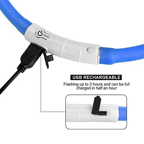 iEFiEL Hunde Leuchthalsband Universell Kürzbar LED Hundehalsband Leuchtband Leuchtschlauch Blink Hundehalsband 70cm, Aufladen per USB, 3 Modell Blink, Wasserdicht (One Size, Blau) - 5