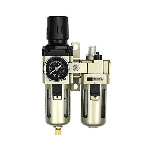 Nuevo separador de agua Reductor de presión Regulador de aire comprimido para compresor de aire comprimido, filtro de 1/4 pulg. Y neblina de aceite con tapa