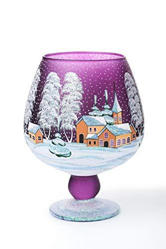 AROMA HOME STUDIO ART PAINTING Weihnachts Windlicht Teelichthalter, Winter-Design Take a Rest,...
