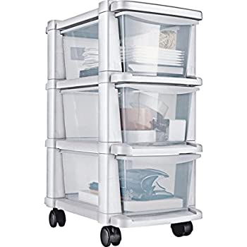 3 Drawer Slim Tower Storage Unit White Size H64 5 W25