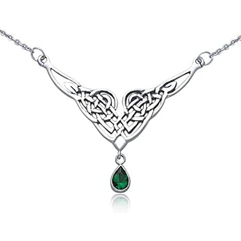 Bling Jewelry Argento celtico della collana del pendente Knot Teardrop Emerald Glass Color