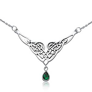 Bling Jewelry 925 Silver Celtic Knot Pendant Necklace Teardrop Simulated Emerald Glass