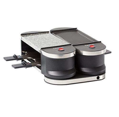 HOME Essentials - Raclette RAC-8021 Flex 4 [4-Pfannen-Set, Steinplatte & Grill, auf-/zuklappbar durch innovative Drehgelenkkonstruktion, max. 600 Watt]