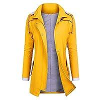 TIMEMEAN Rain Coat for Women Rain Mac Ladies Waterproof Jacket Womens Lightweight Comfortable Yellow