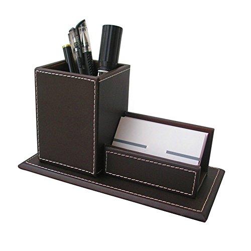 Da.Wa Porta biglietti da visita Portapenne multifunzione Creativo Porta penne in pelle Pot Caso Home Office Stationery Coffe