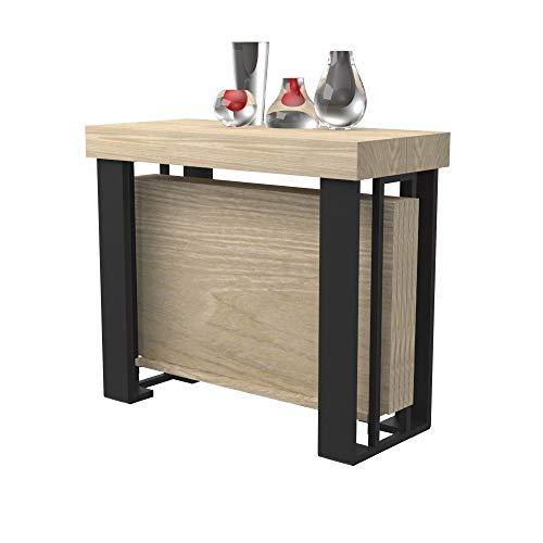 Tavolo consolle allungabile urano con porta allunghe - legno laminato e gambe in acciaio nero opaco - allungabile da 40 cm 300 cm, in 10 colorazioni legno - arredo cucina casa design (rovere rock)
