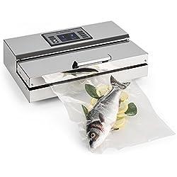 Klarstein FoodLocker-Chef • Envasador al vacío • Máquina de vacío • 20 L/min. • Doble soldadura • Control táctil • Succión y tiempo regulables • Acero inoxidable • 10 x Bolsas de vacío • Plateado