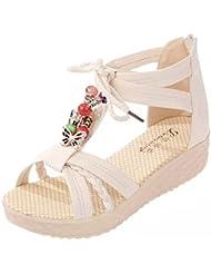 Ularma 2016 Romanas verano Casual Peep-toe hebilla plana sandalias de las mujeres
