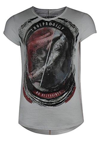 trueprodigy Casual Herren Marken T-Shirt mit Aufdruck, Oberteil cool und stylisch mit V-Ausschnitt (kurzarm & Slim Fit), Shirt für Männer bedruckt Farbe: Weiß 1072122-2000 White