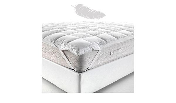135 x 190 cm Topper // sovramaterasso extra morbido in piumino doca letto da 135 Classic Blanc Tutte le misure fodera in cotone