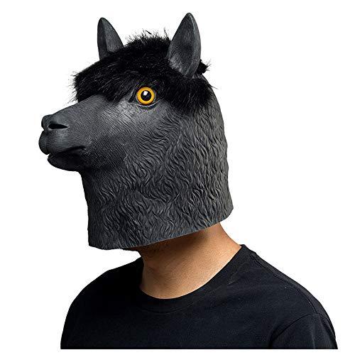 Fayoo Halloween Alpaka Latex Kopf Maske Neuheit Kostüm Party Maske Tierkopf Maske (Schwarz)