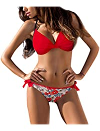 6b11a183c5 MRULIC Women Plus Size Push up Lingerie Sets Padded Halter Bra Bandeau Low  Waist Bikini Swimwear