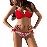 Honestyi Womens Gepolsterte Push Up BH Bikini Set Badeanzug Badeanzug Bademode Beachwear Damen Halfter Halter Strap Solid Color Print Bikini