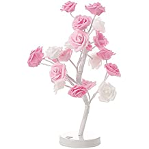 REFURBISHHOUSE Lampara de mesa de arbol de flor rosa 24 LEDs Lampara de escritorio de flor
