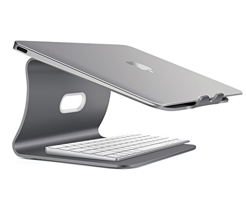 Spinido Verbesserte Alulegierung Cooling Laptop Stand, geeignet für Apple Macbook, alle Notebooks, Tablets, eBook-Reader und Bücher (Patentiert) (Grau Laptop Stand)