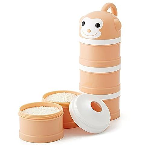 Formula Dispenser, Stapelbar Portable 3 Fächer Milchpulver Dispenser & Snack Container von Udaone-mit Griff & 3 Trichter Deckel / 360ML 0M+ (Orange Affe)