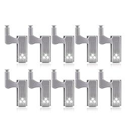 RETYLY 11Pcs Schrank Schrank Kleiderschrank LED Scharnier Licht intelligenter Sensor Lampe warmweiss
