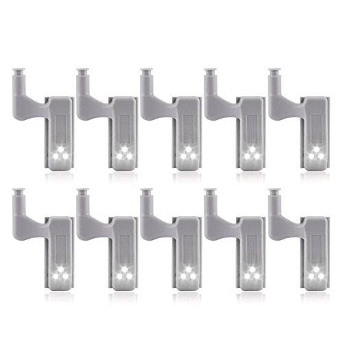 SODIAL 10Pcs Cabinet Armario armario LED Bisagra Luz Sensor inteligente Lampara Frio...