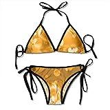 Golden Love Sexy Women Beach Swimwear Two Pieces Bathing Suit Bikini Top