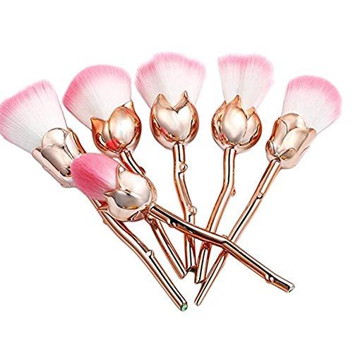 Ndier 6 PCS Pro Soft Rose Maquillage fleur Pinceaux Contour visage Fond de teint poudre fard à joues Pinceaux d'or et rose Produits Beauté Pour Maquillage