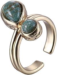 anillo del dedo de apertura de piedra geométrica simple moda plateado Goldfinger