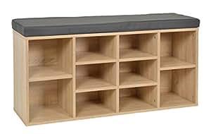 ts ideen banc de rangement hall d 39 entr e couloir meuble chaussures imitation bois de ch ne 103. Black Bedroom Furniture Sets. Home Design Ideas