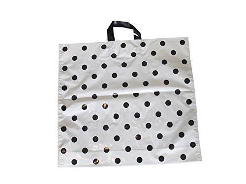 Tragetaschen LDPE Plastiktüten Funny 50 x 45 + 5 cm Schlaufentasche Einkaufstüten Beutel Shopper weiß Punkte schwarz (50 Stück)
