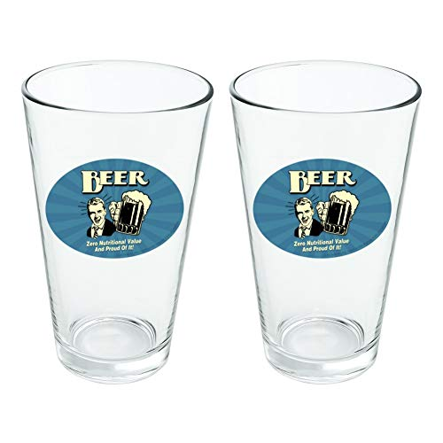 Bière Zero valeur Nutritive et Fier de Lui Funny Humour fantaisie 453,6 gram Pinte à boire en verre trempé Lot de 2