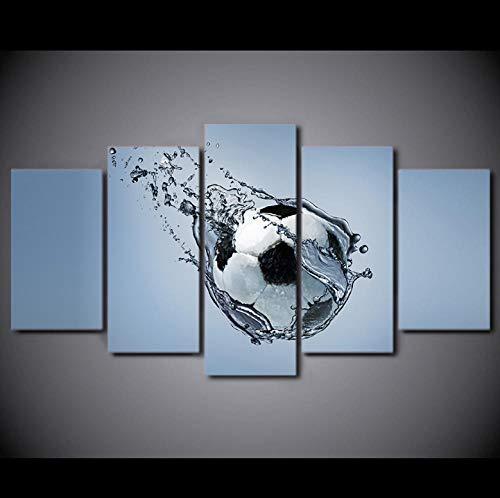 Nplunox 5 Stück HD Drucke Leinwand Ölgemälde Fußball unter Wasser Moderne Kunst Fußball Poster Sport Dekoration Raum