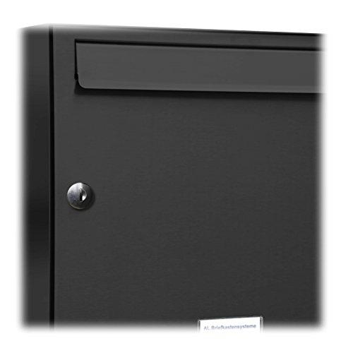 AL Briefkastensysteme, 3er Postkasten modern, A4 Premiumbriefkasten, 3 Fach Briefkastenanlage in Anthrazitgrau RAL 7016 - 2