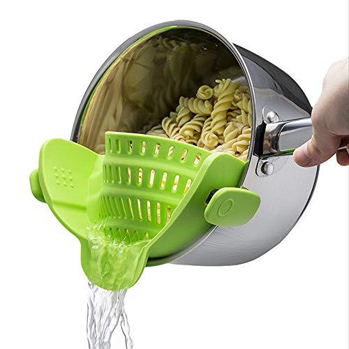 Ogquaton Silikon-Sieb, Clip auf Silikon-Sieb, Gemüse-Sieb Passt alle Töpfe und Schalen - Lime Green (Silikon-topf-sieb)