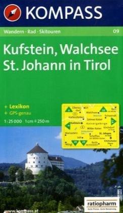 Carta escursionistica n. 09. Austria. Tirolo... Kufstein, Walchsee, St. Johann in Tirol 1:25.000. Adatto a GPS. DVD-ROM digital map. Ediz. bilingue