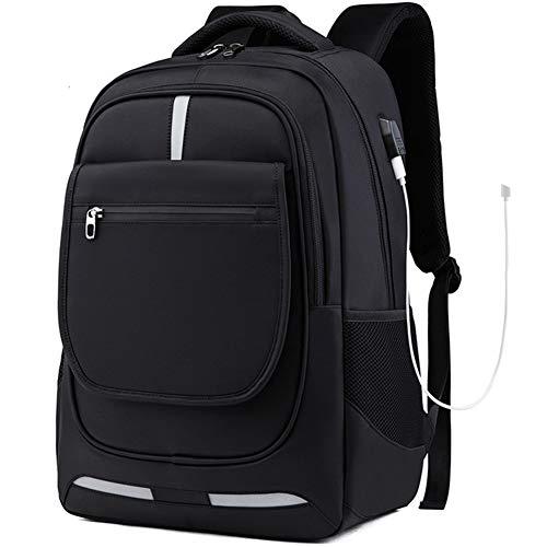 WJY Wasserdichter Laptop-Rucksack, Oxford-Schultasche Lässiger Reiserucksack mit USB-Ladeanschluss und Kopfhörerloch für 17-Zoll-Computer-Tagesrucksack für Männer und Frauen
