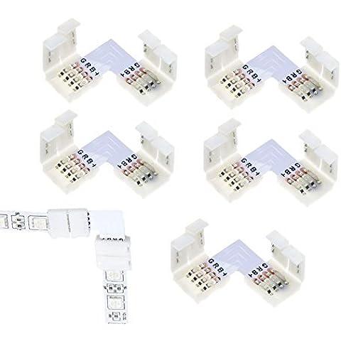 5x LED RGB Striscia Connettore Angolare Rapido Innesto Set Connettori L