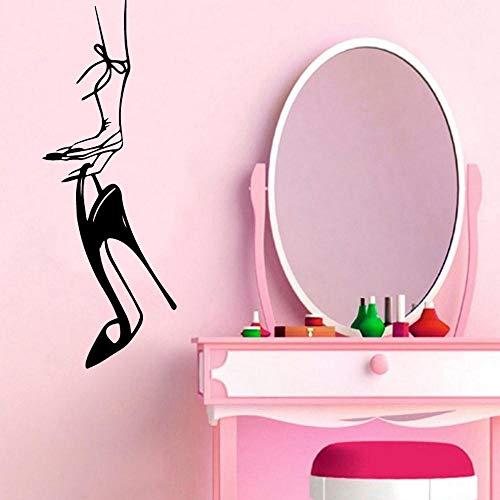Wandkunst Aufkleber Frau High Heels Wandaufkleber Wasserdichte Dekoration Für Baby Zimmer Schwarz Aufkleber 90 * 32 Cm -
