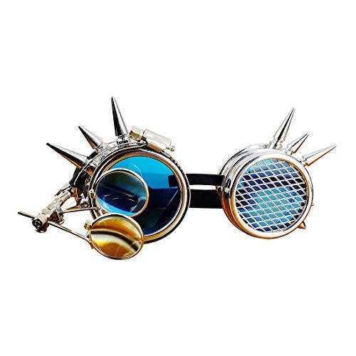 WEATLY Gafas de Estilo Victoriano Cyber Steampunk con diseño de brújula, Lentes de Colores y Lupa Ocular (Color : Blue)