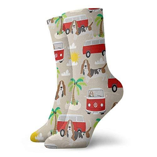 Jxrodekz Basset Hound Dog Beach Bus Hippie Bus Palm Trees Men Women Novelty Funny Crazy Crew Sock Printed Sport Athletic Socken 30cm Long Personalized Gift Socken (Friends-halloween-party Tree Happy)