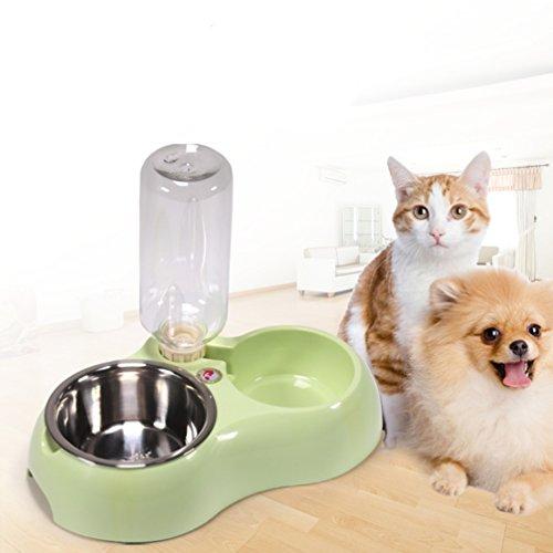 LA VIE Futter und Wasserspender Haustier Hund Katze Doppelte Schüssel Automatik Wasser Trinker Spender für Hund Katze Welpe Kleintiere Grün