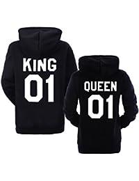 King Queen 01 Hoodies Partner Look Pärchen Hoodie Set Sweatshirt 2 Stücke