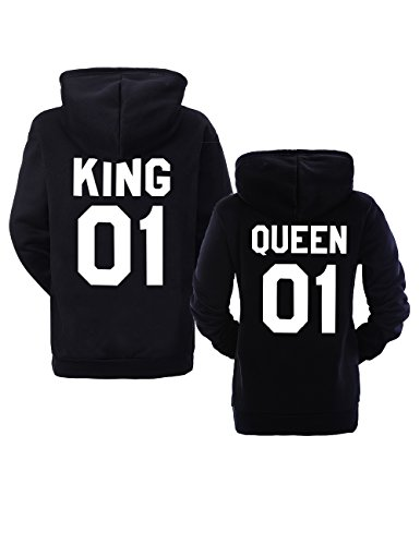 King Queen 01 Hoodies Partner Look Pärchen Hoodie Set Sweatshirt 2 Stücke (Schwarz, King-M+Queen-S)