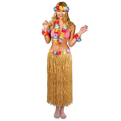 (Eholder Hawaiianisches Kostüm mit Hula-Halsband, Armbänder, Stirnband für Frauen, Mädchen Luau Tiki Party Supplies & Zubehör – Hula Grass Rock Kostüm)