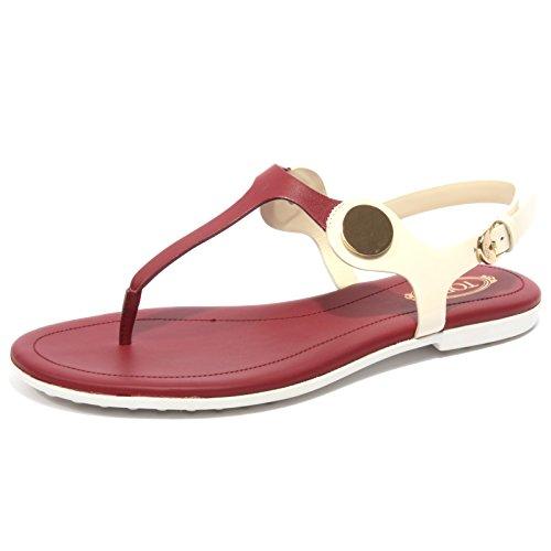 B1672 infradito donna TOD'S sandalo panna/amaranto flip flops shoe woman panna/amaranto