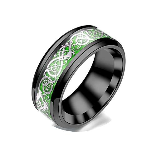 AmDxD Edelstahl Paar Ringe, Kohlefaser Bandringe Edelstahlringe - Grün Silber Gr.52 (16.6) (Grün Titan Kohlefaser Ring)