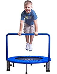"""PLENY 36"""" Kids Mini Trampoline with Handle, Safety and Durable Toddler Trampoline - 3 Colors Available"""