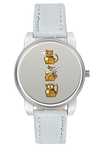 Women's Watch, BigOwl Cat Coffee And Glasses Brown Designer Analog Wrist Watch For Women - Gifts for her dials