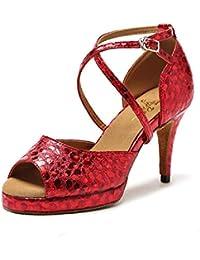 HCCY Zapatos de Baile Latino de tacón Alto con diseño de Serpiente roja  para Mujer de Moda de Fondo Suave y de… cbde51be948a