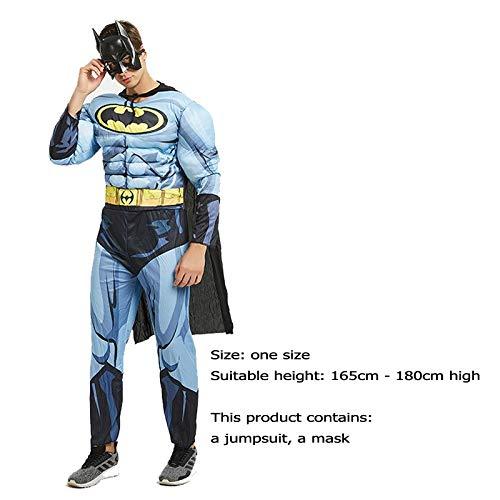 Helden America Schwarz Kostüm Captain Marvel - WLDSH COSPALY Superheld-Rolle, die schwarzen Batman-Muskel-Stylingfilm-Charakter-Druck-Strumpfhosen-Partei-Kleidungs-Geschenke spielt (Farbe : Blau)