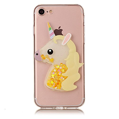 Cover iPhone 6S 6 Unicorno, E-Unicorn Custodia Cover Apple iPhone 6S 6 Brillantini Glitter 3D Giallo Unicorno Liquido Trasparente con Disegni Cristallo di Bling Silicone Ultra Sottile Morbida TPU Gomm Giallo